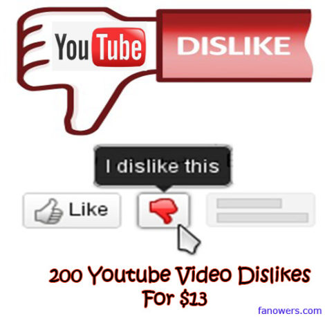 buy 200 YouTube Dislikes